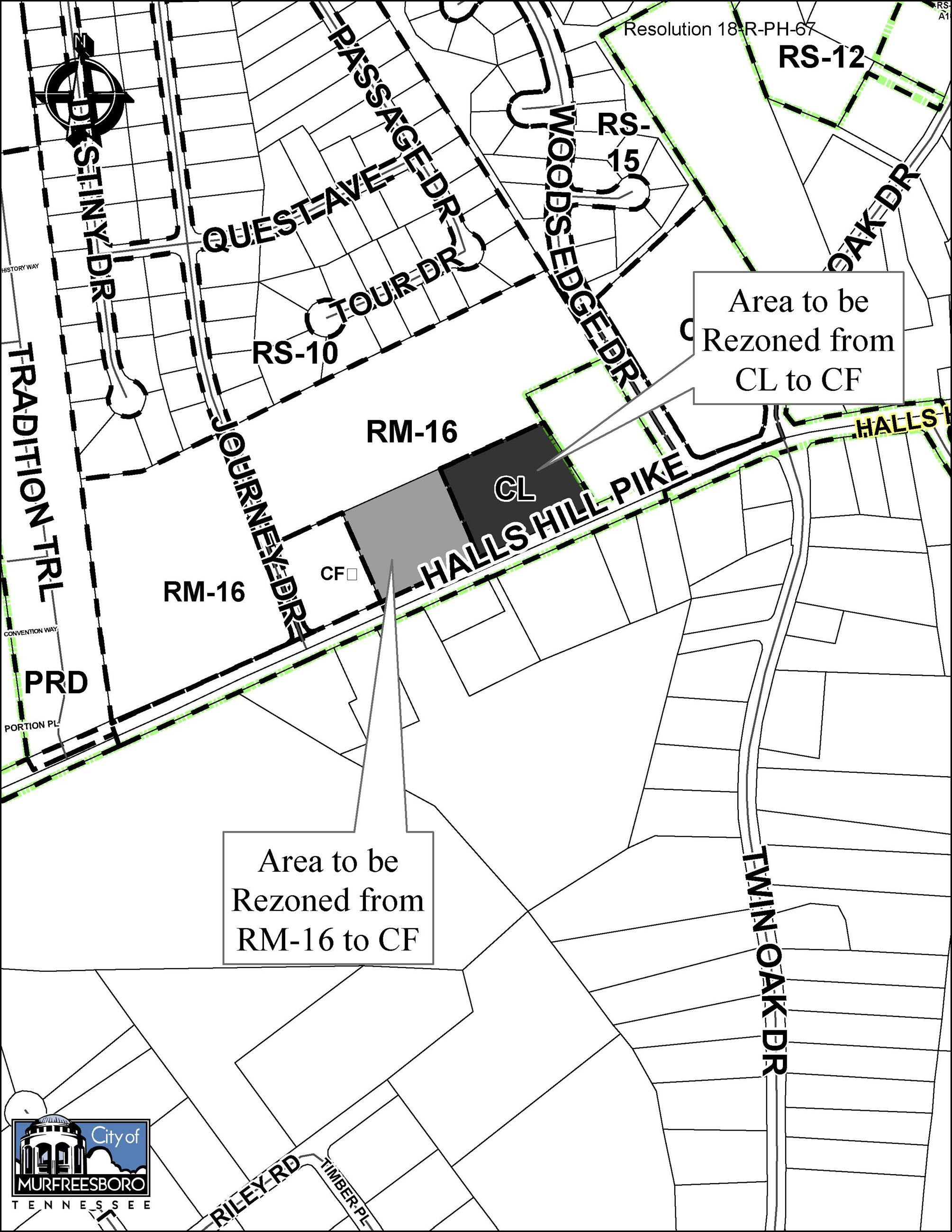 Map of Halls Hill Pike for Resolution 18-R-PH-67